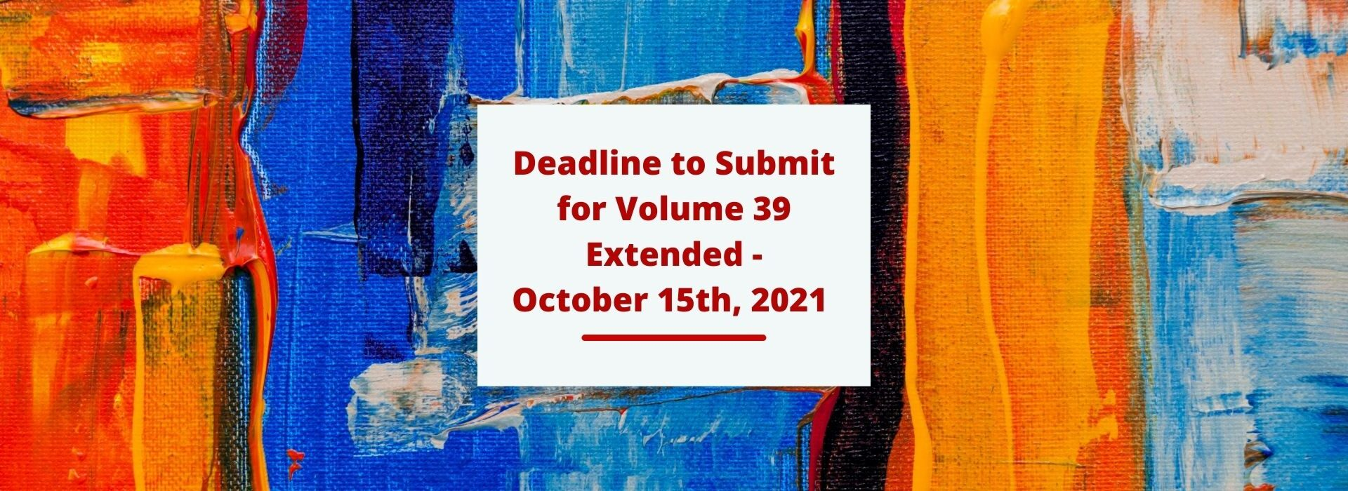 Permalink to: Vol. 39 Deadline Extended